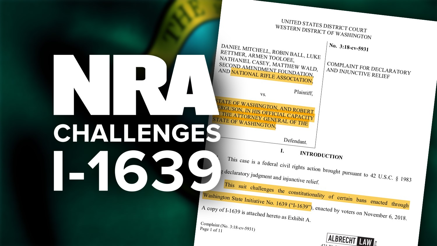 Fairfax, Va. - The National Rifle Association and the Second Amendment  Foundation (SAF) today jointly filed a lawsuit in the United States  District Court ...